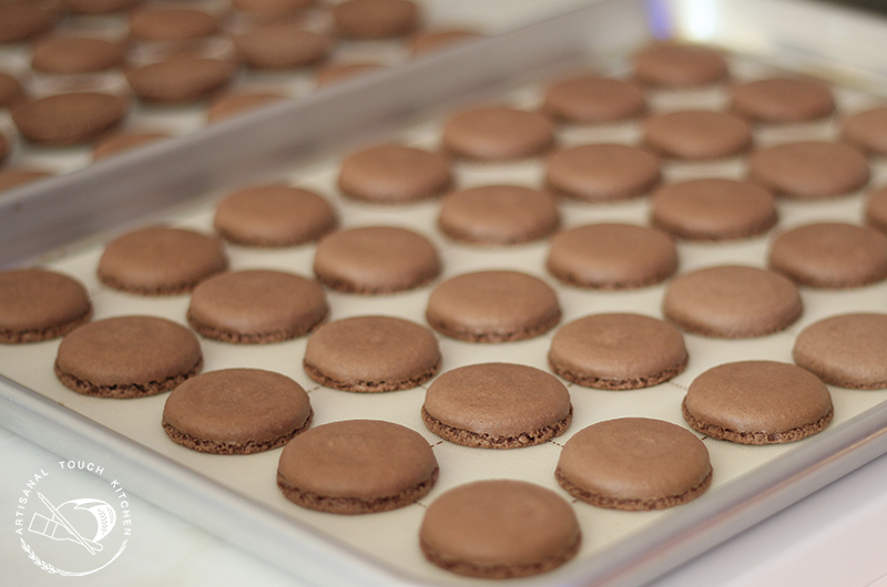 Chocolate macarons shells 1