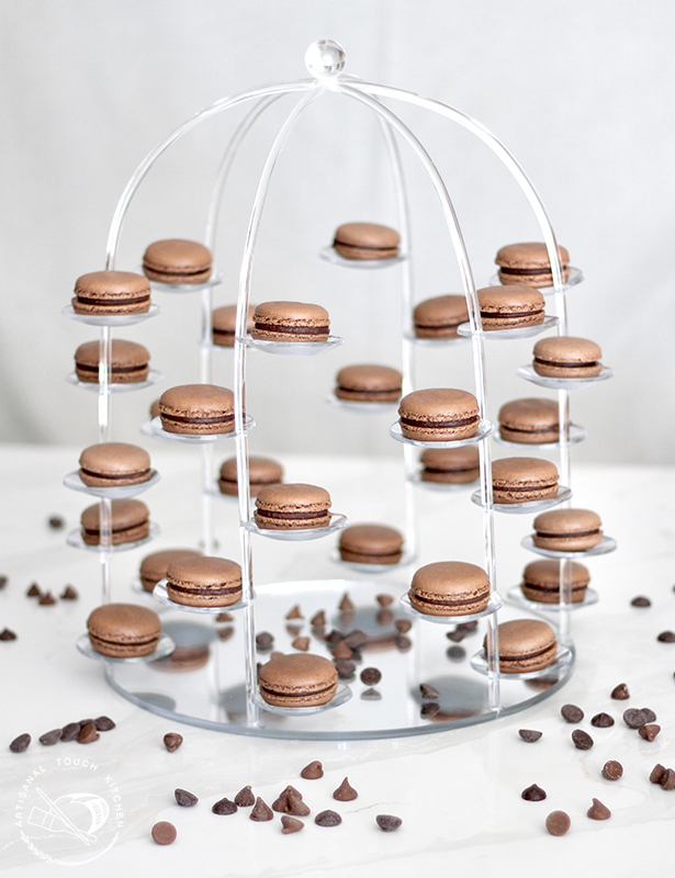 Chocolate macarons tower