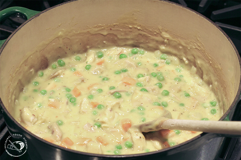 Chicken pot pie filling roasted carrots peas Dutch oven