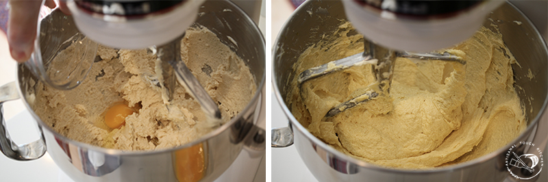 Perfect yellow cake mixing eggs in stand mixer