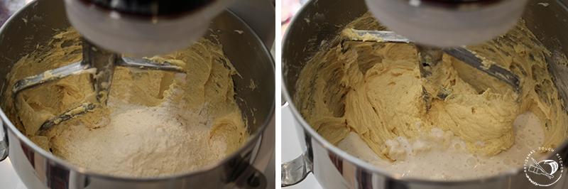 Perfect yellow cake batter dry ingredients wet ingredients mixing