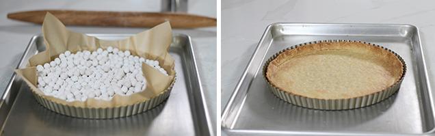 Blind baking pie dough pâte brisée tart shell parchment paper pie weights tomato tart