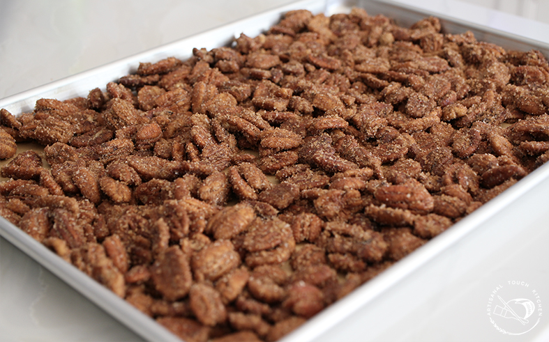 Candied pecans sheet tray sugar coating