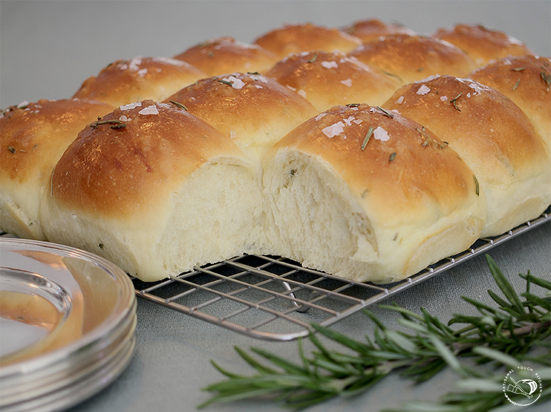 Sourdough rosemary pull apart rolls dinner enriched dough Parker house bread