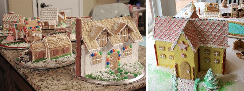 Graham cracker gingerbread houses village decorated