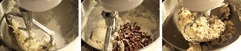 Pecan shortbread cookies mixing dough
