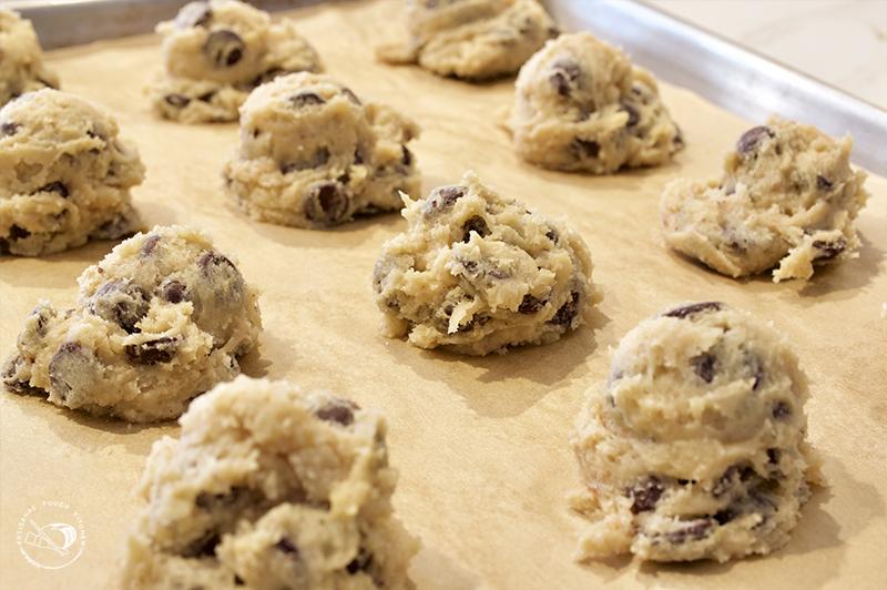 Sourdough chocolate chip cookies discard recipe dough scoops sheet tray