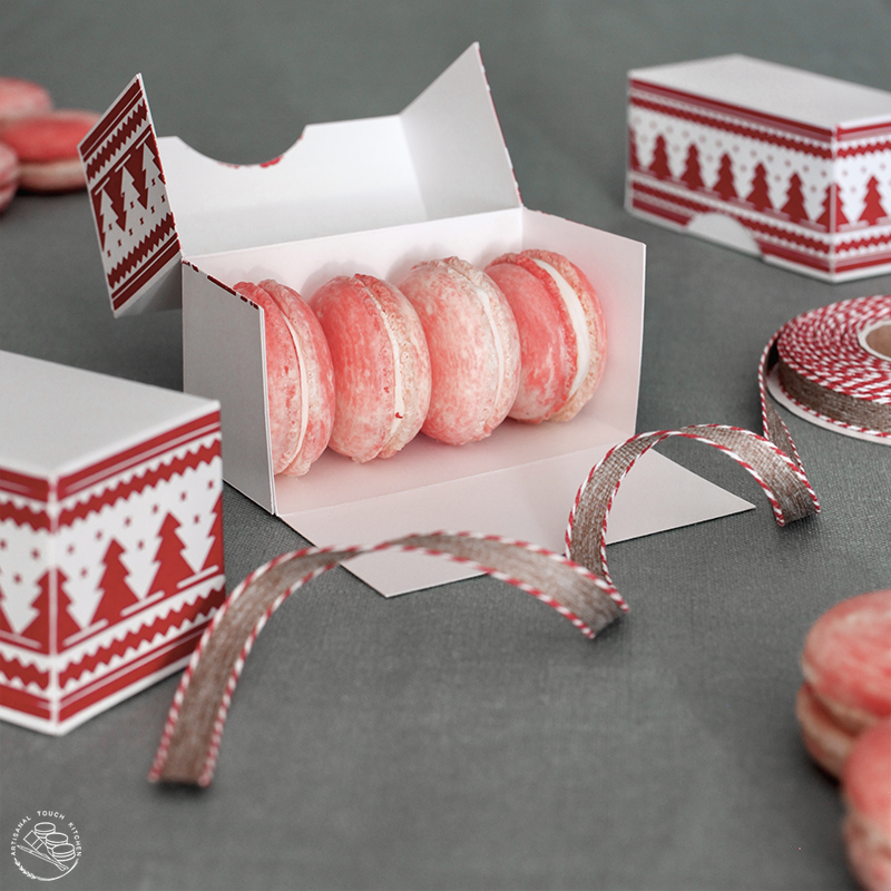 White chocolate peppermint macarons candy canes holiday Christmas cookies box ribbon