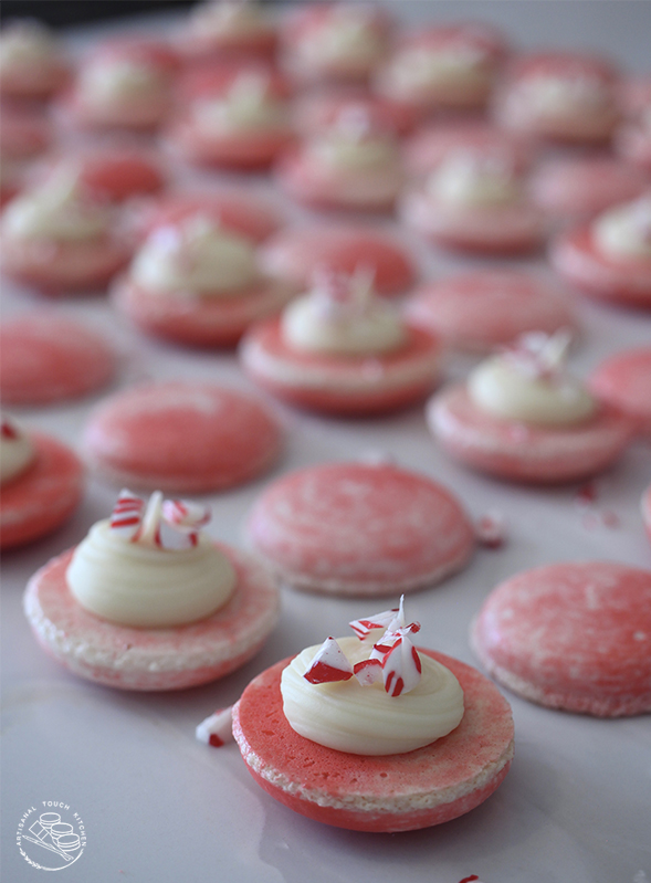 White chocolate peppermint macarons filling ganache candy canes