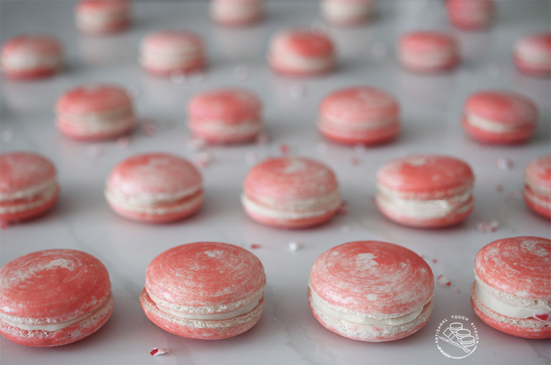 White chocolate peppermint macarons candy cane truffles Christmas holiday flavor