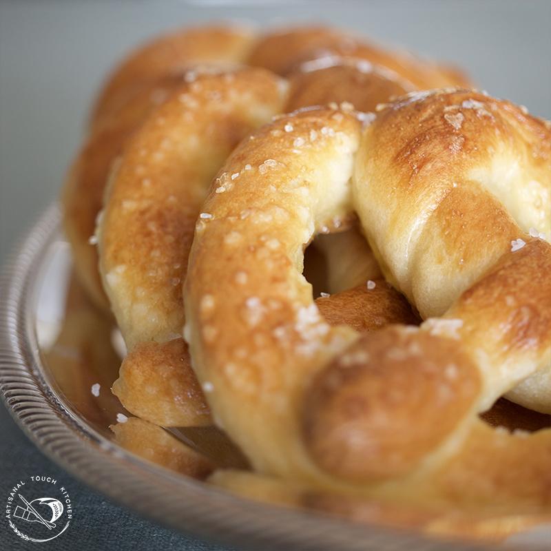 Soft sourdough pretzels