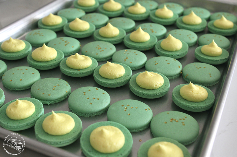 Lucky charms macarons gold yellow white chocolate ganache